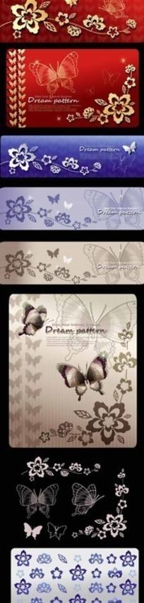 精致蝴蝶与花卉图案纹样矢量素材