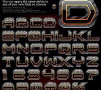 多款特效英文字母矢量素材