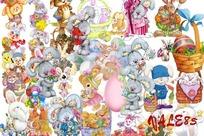 卡通兔子松树图片素材