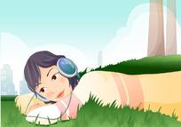 美女趴在草地上听音乐