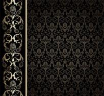 欧式华丽花纹墙纸背景矢量素材