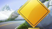 绕山公路警示牌