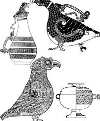 古典鸟形器皿纹样