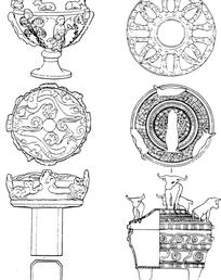 中国古典酒杯纹样素材