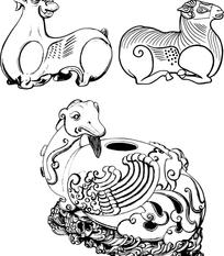 古代动物形状器皿纹样