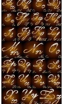 闪闪金属质感手写26个英文字母