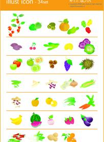水果和蔬菜图标矢量素材