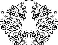 精美黑白花纹矢量素材