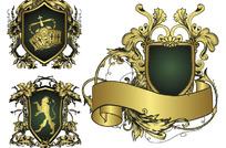 欧式华丽盾牌花纹丝带矢量