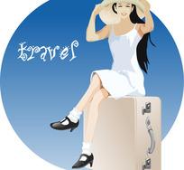 坐在旅行箱上的美女
