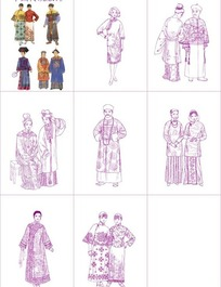 中国传统服饰矢量素材