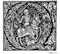 骑马的武士花纹图案素材