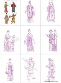 中国古代传统服饰矢量