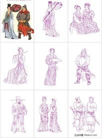 中国古典传统服饰矢量