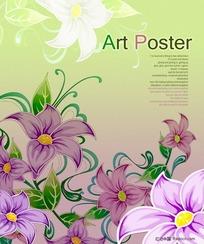 PS手绘花朵古典背景