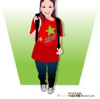 背着背包的红衣女孩