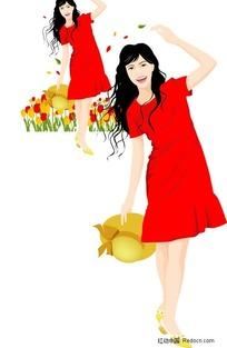户外郊游的红衣美女