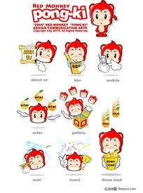 可爱的红色小猴子矢量素材