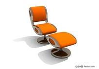 橙色休闲椅3D模型