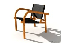 木质靠椅3D模型