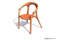 原木靠椅3D模型