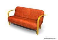 橙色木架沙发3D模型