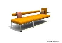 橙色三人沙发3d模型
