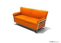 橙色双人沙发3d模型