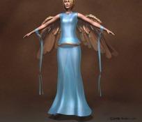 长翅膀的女性人物3D模型
