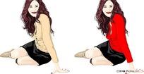 坐在地上的红衣美女