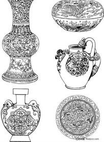 古董陶瓷花纹