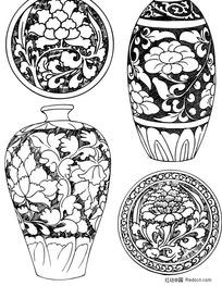 古式瓷器花纹