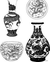 陶瓷器上的龙纹花纹