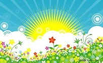 太阳绿花矢量图