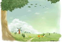 绿色草地卡通插画风景