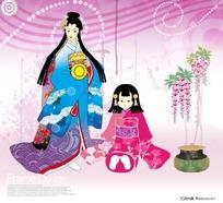 日本古代妇女儿童画
