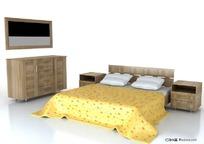 一套现代精美时尚床具3D模型