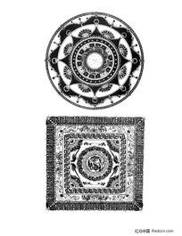 佛教方形适合纹样底纹