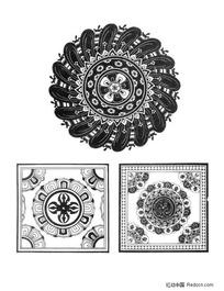 佛教方形适合纹样图案