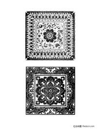 佛教方形适合纹样图形