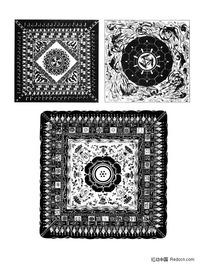 佛教方形适合纹样图形素材