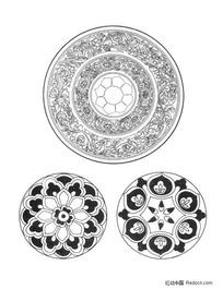 佛教圆形适合纹样图形