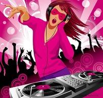 DJ音乐美女矢量图
