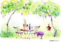手绘树下的餐桌
