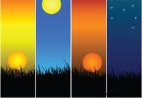 黄昏风景背景矢量图