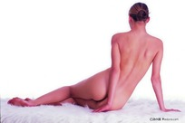 侧坐的裸体性感美女