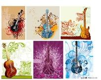 各种吉他款式和各种花纹素材