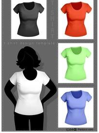女款立体T恤模板