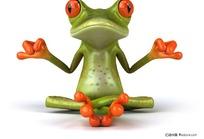 练瑜伽的卡通青蛙