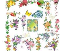 水果花朵蝴蝶花边矢量素材